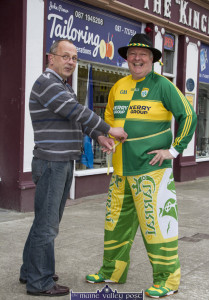 Final Fitting: Gerdie Murphy in full battle dress for Sunday's All-Ireland Football finals with Castleisland based tailor, John Power this evening. ©Photograph: john Reidy