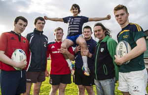 See you at The Cross: Former World Mountain Running Champion, John Lenihan pictured with members of the Castleisland Rugby Club U-18 squad making plans and shapes for their up-coming 'Are you Tough Enough' climb of Carrantouhill at The Crageens on Friday evening. Included are from left: Freddie Browne, Sean Prendiville, Jack Scanlon, Timothy Mitchell, John Lenihan and Patrick O'Connor. ©Photograph: John Reidy