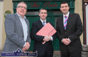 Cllr. Bobby O'Connell (left) with Damien English, Minister of State at the Departments of Education and Skills and Jobs, Enterprise and Innovation and Brendan Griffin, TD during a visit by the minister to Castleisland earlier this year. ©Photograph: John Reidy 12-2-2015