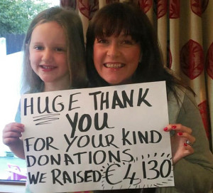 Noeleen and Maryanne saying Thank You to all who helped them reach a fantastic total on their Kerry Hospice Coffee Morning.