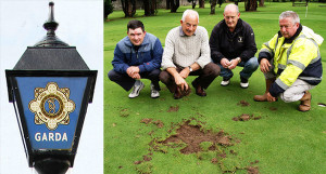 Last attack in 2009: Castleisland Pitch & Putt Club members, from left: Shane Brennan, Pat Mitchell, Mike Browne and John Horan with a sample of the damage done in July 2009. Now they face similar repair work after this weekend's act of vandalism.  ©Photograph: John Reidy 15-7-2009