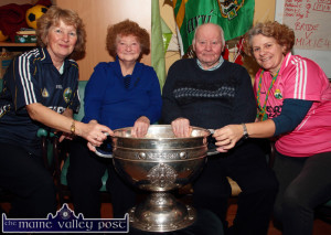 Castleisland Day Care Centre staff member, Rita McCarthy (left) pictured with Eileen and Tim O'Callaghan, Firies and Marcella Finn, nurse/manager during the visit of the Sam Maguire Cup in February. ©Photograph: John Reidy 18-2-2015