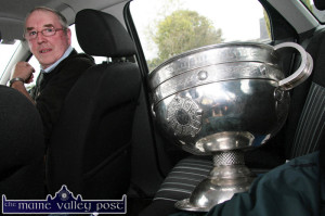 Very Important Passenger: Tony Maher, Duagh - father of recalled Kerry midfielder, Anthony Maher - arrives in the neighbouring Lyreacrumpane with the Sam Maguire Cup at The Four Elms Bar after the 2009 final against Cork. ©Photograph: John Reidy  11-10-2009.