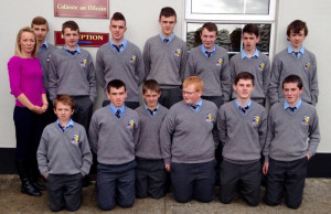 Third year students from St. Patrick's Secondary School, Castleisland members of the school's Amber Flag team. Front from left: Tommy Brosnan, Padraig O'Connor, Ethan Kerin, Tommy Curtin, Denis O'Mahony, Ronan Walsh. Back from left: Ms Collins, Aleksander Starczak, Anthony Bird, Adam Manley, Moss O'Callaghan, Darragh O'Connor, Lorcan Hickey, Dylan Browne.