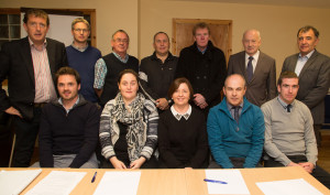 Castleisland Chamber Alliance formed at its first full meeting at Walsh Colour Print on Thursday night. Front row: Mark McElligott, Nicola Lawless, Patricia Walsh, Peter Browne and Shane McAuliffe. Back row from left: Tomás Ó Concuir, Jeremy Burke, Pat Hartnett, Brian O'Sullivan, Ted Kenny, Willie Buckley and Seán Brosnan. Chamber member, Charlie Farrelly is not included in the photograph: Photograph: Joe Hanley