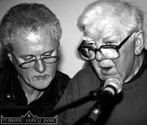 Dr. Ciarán Mac Mathúna delivering a lecture on his travels around Sliabh Luachra down through the years at Scartaglin Heritage Centre with Matt Cranitch during the 2000 Patrick O'Keeffe Traditional Music Festival. ©Photograph: John Reidy 28-10-2000