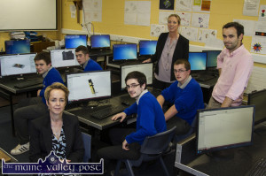 Castleisland Community College Principal, Carmel Kelly (left) with Deputy Principal, Teresa Landers and teacher, Aidan Joy in the newly equipped Design and Communication Graphics room at the college with students from left: Shane Browne, Knocknagoshel; Oisín Fleming, Currow; Christian Steinborn, Tralee and Séamus Kerins, Firies. ©Photograph: John Reidy