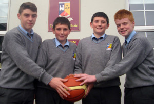 St. Patrick's Secondary School students who have been selected on the South West Inter Regional U-15 Basketball team. From left: Donal Geaney, Aaron Fleming, Padraig Fleming and Garry O'Sullivan.