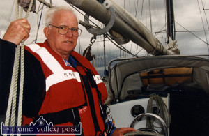 The late Fr. Gearóid Ó Donnchadha pictured at Fenit Pier on the occasion of the launch of the 'Ann Speed' lifeboat by the RNLI in June 1999. ©Photograph: John Reidy 30-6-1999