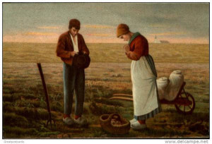 The Angelus (L'Angelus) is an oil painting by French painter Jean-François Millet, completed in 1859. The painting depicts two peasants bowing in a field over a basket of potatoes to say a prayer, the Angelus, that together with the ringing of the bell from the church on the horizon marks the end of a day's work.