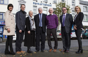 Castleisland Bank of Ireland branch manager, Paddy Garvey (centre) pictured with members of his Enterprise Town Expo committee in September when the idea was first mooted. : Liz Galwey (left) is pictured with: Bill Costello, Jill Hannon, Mr. Garvey, Donal O'Connor, Denis O'Donovan and Lisa Geaney. ©Photograph: John Reidy 17-9-2015