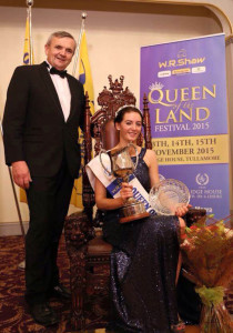 Queen of the Land 2015: Christine Buckley from Firies is the 2015/16 Queen of the Land after the weekend's festival in Tullamore. Primary school teacher, Christine is pictured here with sponsor,