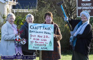 Castleisland Christmas Craft Fair organisers driving home the message at Tralee Road on Sunday morning. Included are, from left: Betty Walsh, Millie Browne, Renee McCarthy and Kath Walsh. ©Photograph: John Reidy