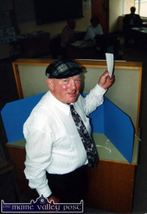 On his way:  Cllr. Jackie Healy Rae casting his vote in his first Dáil poll at Kilgarvan National School on the morning of  the 1997 General Election. The rest is his story. ©Photograph: John Reidy  6-6-1997