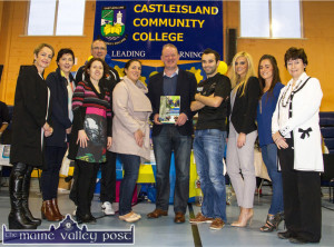 Famous Past Pupil, Mick Galwey was glad to pose with the present-day team from Castleisland Community College during the recent Bank of Ireland Enterprise Town Castleisland Expo at the local community centre. Included are from left: Principal, Carmel Kelly, Anna Kerin, Eileen Canty, Maurice Casey, Juanita Lovett, Mick Galwey, Aidan Joy, Marion O'Sullivan, Jacinta Buckley and Veronica O'Hanlon. ©Photograph: John Reidy 14-11-2015