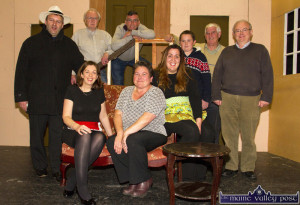 The Island Players taking a break from rehearsals for their end-of-the-month staging. Seated from left: Mairéad O'Mahony, Caroline Healy-O'Connor and Rosaleen Higgins. Back from left: Tommy Martin, Hugh Jordan, Mick Burke, J.J. O'Connor, Jerome Stack, director and Aidan Reidy, lighting. ©Photograph: John Reidy