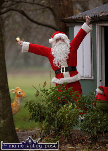 Santa pictured during a recent visit to his secret cabin outside Castleisland from where he checked out the area before his appearance at the Snowed-In Experience at An Riocht on December 11th and 12th. ©Photograph: John Reidy