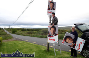 A touch of Spring: Husband and wife, Pat and Chris Quinn postering their local area at Carrigcannon in Lyreacrompane for Arthur J. Spring on a Friday evening prior to the June 5th local and European elections of 2009. ©Photograph:John Reidy  22-5-2009