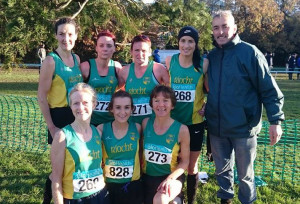An Riocht heroines who brought huge honour to the club in Santry on Sunday. Front from left: Majella Diskin, Shona Heaslip and Niamh O'Sullivan. Back row: Sharon Cahill, Catherine O'Sullivan, Mary O'Connor, Laura Crowe and Denny McSweeney, An Riocht AC secretary.