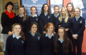 Poetry Aloud participants pictured with teacher Joan McElligott. Front from left: Sarah O'Mahony, Aine Sheehan, Kayla O'Connor, Jodie Glennon.  Back from left:  Ms. McElligott, Ailish Donovan, Laura Daly, Mar Galles Munoz, Wiktoria Niewiadomska, Siobhan Brosnan, Fia Lawless and Jessica O'Leary.