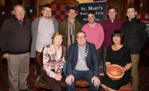Attending the launch of the St Mary;s Basketball Club Basketball Blitz 2015 in the River Island Hotel,Castleisland on Sunday night, Front l-r: Mary O'Neill,Bobby O'Connell (mayor of Killarney) and Liz Galwey (Blitz PRO) Back Eamonn O'Connor,James Lyons,Jim Garvey ( Major Sponsor) Seamus O'Neill,Paudie Fleming (St Mary's) and Neilus Lyons.