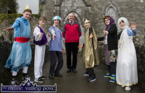 Naomh Chartaigh Castleisland Boys' National School principal Denis Griffin pictured with some of the principal actors in the school's annual pantomime which they will stage tonight and tomorrow night to sell-out audiences. Included from left are: Patrick Roche, Peter Burke, Patrick Fleming, Mr. Griffin, Shane Óg McGaley, Conor McAuliffe and Micheál Nix. ©Photograph: John Reidy