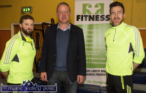 R&R Fitness proprietors, Thomas Regan (left) and Mikey Ryan pictured with Irish Rugby star, Mick Galwey at the recent Bank of Ireland Expo.  ©Photograph:  John Reidy
