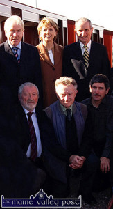 The late Joe Reidy (centre) pictured with Denis O'Riordan and Cllr. Pat Loughnane at the opening of the Lartigue Mono Rail in Listowel in October 2005. Included are: President Mary McAleese and her husband Martin and Jimmy Deenihan TD. ©Photograph: John Reidy 14-10-2005