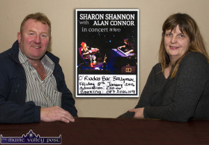 John Reidy and Mary Jones preparing for their special guest, Sharon Shannon on Friday,  January 8th. ©Photograph: john Reidy