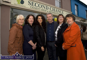 Deirdre Fee, (right) founder of Be Aware - Prevent Suicide pictured at the official opening of the Second Chance Charity Shop and Information Hub on Main Street, Castleisland in November 2013 with  from left: Joan Brosnan, Síle kerley, manager; Marie Lucey, volunteer; Brendan Walsh founder member; Anette O'Connor, volunteer and Ms. Fee. ©Photograph: john Reidy
