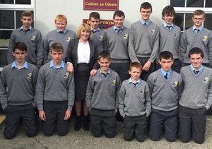 Third year students with Nora Conway, Clinical Manager of Pieta House who visited the school recently and spoke to the students as part of their Mental Health Awareness Week.