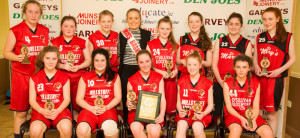 St Mary's U-14 Girls who defeated TK Bobcats in their final at Castleisland Community Centre on Wednesday. Photograph: Joe Hanley