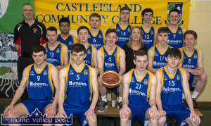 The Castleisland Community College Basketball team which will play against play St Columb's College, Derry in the SUBWAY U-19 B Boys All-Ireland Schools' Cup Final at the National Basketball Arena in Dublin on Tuesday. Front from left: Seán O'Connell, Alex Fleming, Patrick Horan and Nathan Nolan. Middle row: Séamus Barry, Seán O'Connell, Jonathan Hilliard, Theresa Lonergan, deputy principal; Pádraig O'Connell and Ryan Maguire. back Row: Maurice Casey, coach; John Bobiles Eodhán Browne, Shane O'Connell, Adam Nolan and Jack Curran. ©Photograph: John Reidy