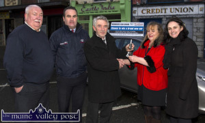 Happy New Year: Credit Union Car Draw winner, Dolores O'Reilly receiving the keys to her brand new car from Derry Fleming, Tralee Credit Union outside her local office in Castleisland this morning with: Dan O'Sullivan, Jerry O'Sullivan, Kelliher's Garage, Tralee and Suzanne Ennis, Marketing and Business Development Manager, Tralee Credit Union. ©Photograph: John Reidy