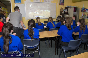 The scene in the French Room at Castleisland Community College yesterday as staff and students gather to watch 'the stream' of the game live. ©Photograph: John Reidy