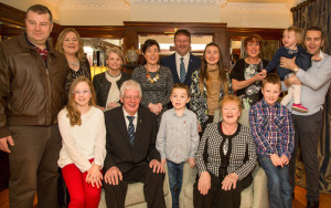 Joe and Sheila Martin, Castleisland celebrating their Golden Jubilee with family members at Ballygarry House Hotel & Spa recently. Front : Abigail, Joe, Sean, Sheila and Conor. Back from left:  Brendan, Charlotte, Helena, Catherine, Tommy, Danielle, Caroline, Kate and Desmond. Photograph: Joe Hanley