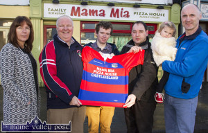 At the presentation by Mama Mia Pizza House and Family Restaurant of a set of jerseys for the Castleisland Rugby Club U-14 team were: Mary Browne, Gerard Murphy, Vincent Murphy Sports and Conor Browne receiving the presentation from Sandro Norcia, Mama Mia with Ayla and Bill Horgan. ©Photograph: John Reidy