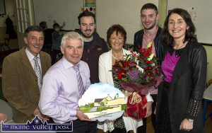 Retiring Loughfouder NS, Principal Micheál Herlihy pictured with his wife, Anne Marie and their sons, Seán and Diarmaid with: Loughfouder NS Board of management Chairman, Ben Brosnan (left) and incoming principal, Elizabeth Lane at the school before Christmas. ©Photograph: John Reidy