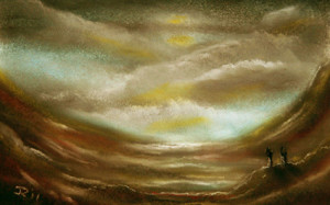 A pastel on paper piece to welcome a new year with bright horizons and miles to travel.©John Reidy
