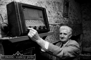 The late Seán McElligott pictured in his old house in Ballymacelligott with the old radio on its lofty perch. The photograph was taken before it the house was demolished to make way for the new Castleisland to Tralee road. ©Photograph: John Reidy 12/6/1999