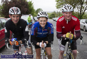 The Scart team: Patrick O'Connor (left) pictured with his cousins, Nuala and Fred O'Connor from Scartaglin at the start of last year's St. Kieran's GAA Club annual Cycle Tour in Castleisland.  ©Photograph: John Reidy  24-5-2015