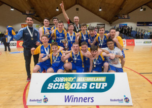 We are The Champions: Castleisland Community College Subway U-19 B Boys All-Ireland Schools Cup Final Champions celebrate with the trophy after they defeated St. Columb's College, Derry at the National Basketball Arena, Tallaght, Dublin on Tuesday. ©INPHO/Ryan Byrne