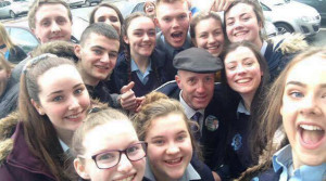 Selfie time in Castleisland as MHR,TD poses with another generation of fans and voters.