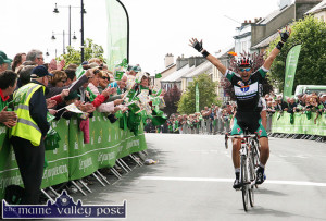 2011- The last RÁS stage finish in Castleisland:  French cyclist, Nikolay Mihaylov raises his arms in triumph as he crosses the line ahead of Oleksandr Sheydyk of the Ukraine at the end of the gruelling stage between Kilrush and Castleisland in May 2011. ©Photograph: John Reidy 24-5-2011