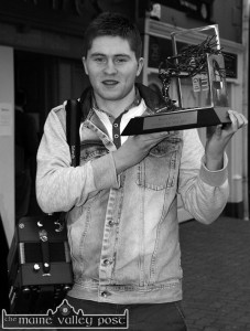 Tonight's Handed Down presenter, Bryan O'Leary with his 2014 TG4 Gradam Ceoil Ceoilteóir Óg trophy. ©Photograph: John Reidy 13-4-2014