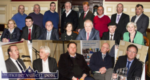 Outgoing TDs and candidates pictured with members of Castleisland Chamber Alliance at the Meet the Candidates session at the River Island Hotel on Thursday night. Main picture, seated from left: Norma Moriarty, FF; Brendan Griffin, FG; Tom Fleming, Ind; Patricia Walsh, Castleisland Chamber Alliance chairperson; Jimmy Deenihan, FG; Michael Healy Rae, Ind and Mary Fitzgibbon, Ind. back from left: Peter Browne, Charlie Farrelly and Shane McAuliffe, Castleisland Chamber Alliance; Martin Ferris, SF; Ted Kenny and Pat Hartnett, Castleisland Chamber Alliance; Donal Corcoran, Renua and Seán Brosnan, Castleisland Chamber Alliance. Insets from left: Event moderator, Jerry O'Sullivan, Radio Kerry; Michael Fitzgerald; The Green Party; Kevin Murphy, Right to Water; John Brassil, FF and Arthur Spring, The Labour Party. ©Photograph: John Reidy