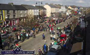 Castleisland's Main Street is thronged during Tuesday's St. Patrick's Day Parade in Castleisland. ©Photograph: John Reidy 17-3-2015
