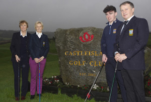 Marion O'Connor, Lady Captain, Marie O'Connor, President, Ronan Cross, Junior Captain and John Manton, Captain, Pictured last Sunday in Castleisland Golf Club for the annual Captain's Drive. ©JDM Photography