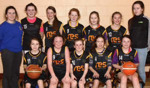 County Champions: St. Bridget's U-12 basketball team from Currow, winners of the Kerry Division 3 County League title when they defeated Tralee Imperials in Currow on Wednesday night. They defeated St. Annes, St. Marys, Kenmare Kestrals and Gneeveguilla in the earlier rounds of the competition. Front  from left: Cara Fleming, Ciara Casey, Clodagh Coffey, Mia Key, Danielle Moriarty. Back from left: Amy Galwey,coach; Celia McMahon, Fiona Brosnan, Mary Lillie Keane, Megan Dennehy, Julia Curtin and Fiona Nelligan McGuire, coach. Photograph: Con Dennehy