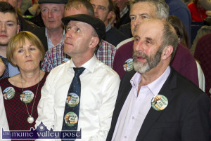 Someone up There..  Michael Healy Rae, TD and danny Healy Rae, TD waiting after midnight for the announcement of Michael's election to the 32nd Dáil at the count centre in Killarney. They'll be in Castleisland at about 6pm or so this evening. ©Photograph: john Reidy